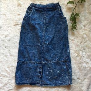 Vintage Acid Wash Denim Jean Skirt